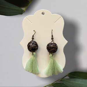 NEW Mint Tassel Wire Ball Earring Veteran Made